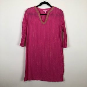Lilly Pulitzer cotton pink & gold tunic small